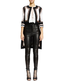 Nette Grommet Stitched Textured Jacket, Lace-Up Ruffled Bib Lace Top & High-Waist Skinny Leather Trouser