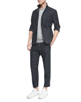 Lynton Twill Sport Coat & Short-Sleeve Raw-Edge Sweatshirt & Wilson Relaxed Trousers