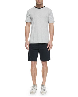 Heather-Knit Short-Sleeve Tee & Flat-Front Cotton Shorts