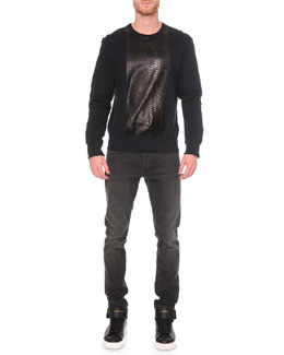 Embossed Python-Print Sweatshirt & Faded-Wash Stretch Denim Jeans