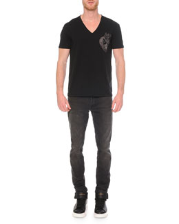 Embroidered Heart V-Neck Tee & Faded-Wash Stretch Denim Jeans