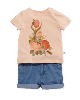 Short-Sleeve Floral-Print Jersey Tee & Denim Shorts