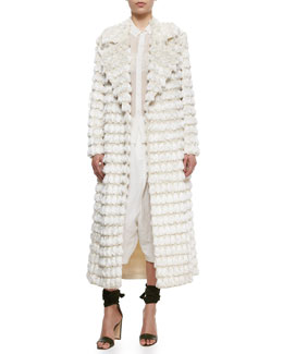 Fringe Tassel-Embroidered Coat, Sheer Chiffon Button Blouse, Crinkled Lace Bralette & Drop-Rise Textured Fez Pants