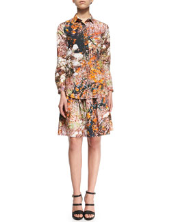 Forest-Print Poplin Blouse & Skirt