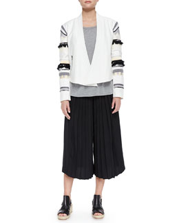 Fringe-Embroidered Cropped Open Jacket, Cap-Sleeve Slub Tee & Simone Silk Pleated Culottes