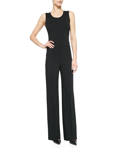 Slinky Jersey Tank Top & Wide-Leg Crepe Pants