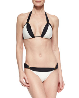 Betsey Two-Tone Triangle Top & Swim Bottom