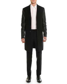 Wool & Leather Moto Long Coat, Cross-Printed Woven Shirt & Madonna Flat-Front Trousers