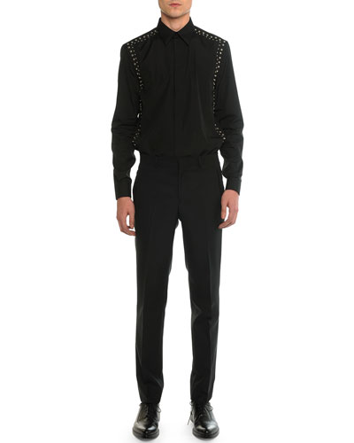 Studded Harness Long-Sleeve Shirt & Madonna Flat-Front Trousers