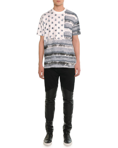 Flag-Printed Graphic Tee & Denim Pants with Leather Trim