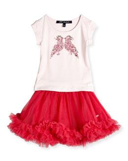 A-Line Ruffle-Trim Skirt & Sequin Bird Jersey Tee