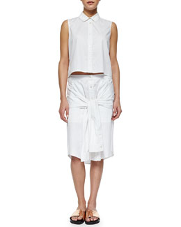 Cropped Sleeveless Poplin Blouse & Tie-Sleeve Poplin Skirt