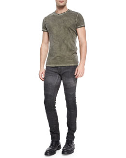 Kingman Studded Crewneck Tee & Standen Slim-Fit Degrade Jeans