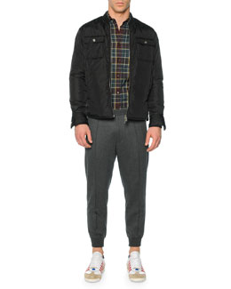 Leather Puffer Shirt Jacket, Long-Sleeve Plaid Sport Shirt & Drawstring Jogger Pants