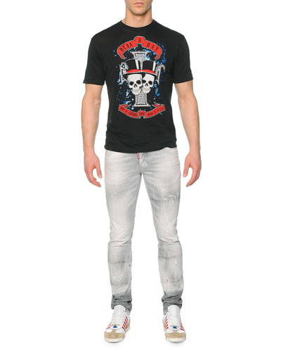 Skull-Graphic Woven Tee & Slim-Fit Distressed Denim Jeans