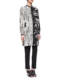 Contrast-Print Crepe Tunic & Skinny-Fit Cropped Pants