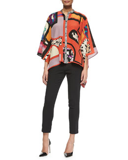 Cube-Print Button-Front Poncho & Skinny-Fit Cropped Pants