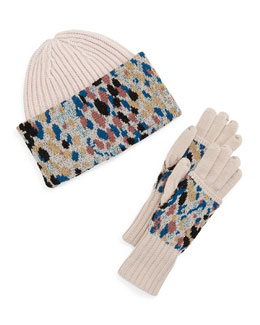 Knit Speckled Hat & Gloves