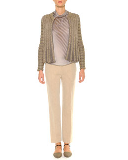 Swing-Bottom Ribbed Cardigan, Mock-Neck Diagonal Striped Blouse & Linen-Blend Lightweight Ankle Pants