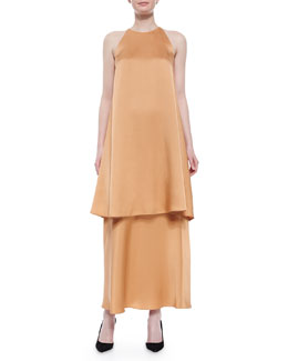 Berthford Satin Shift Dress & A-Line Charmeuse Maxi Skirt