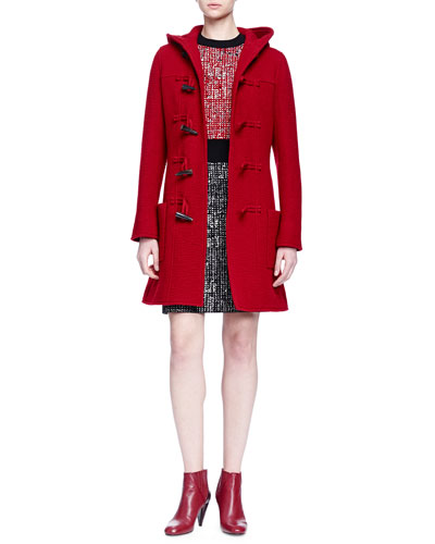 Hooded Toggle-Front Coat & Short-Sleeve Colorblock Tweed Dress