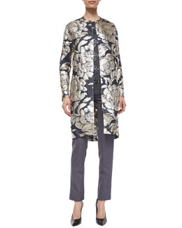 Floral Fil Coupe Topper Coat, Long-Sleeve Beaded Sweater & Sateen Side-Zip Pants