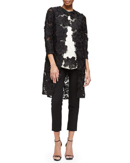 Three-Quarter-Sleeve Rose Lace Coat, Rose Lace-Trimmed Blouse & Catherine Crepe Slim Ankle Pants