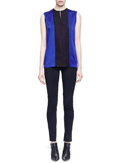 Sleeveless Colorblock Charmeuse Blouse & Skinny-Fit Raised-Seam Trouser