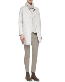 Dean Cashmere Button-Front Coat, Linwood Mink Fur-Collar Wind Jacket & Devin Twill Skinny Pants
