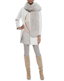Dean Cashmere Button-Front Coat, Ellis Colorblock Striped Shift Dress & Shadow Fox Collar/Scarf