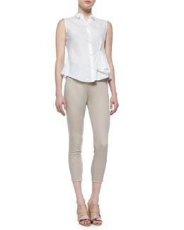 Biaz Sleeveless Ruffled Gauze Blouse & Tonerma Stretch-Knit Sateen Pants