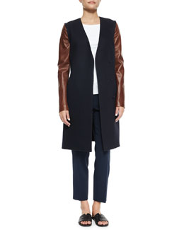 Quennel Compact Wool Jacket, Bliki Classic Long-Sleeve Tee & Padra Cropped Crepe Pants