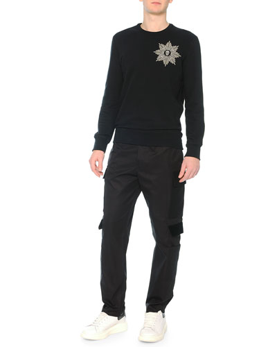 Beaded Skull-Medallion Crewneck Sweatshirt & Cargo Pants with Velvet Flaps