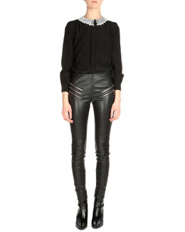 Lace Collar Button Down Blouse & Leather Zip-Pocket Leggings