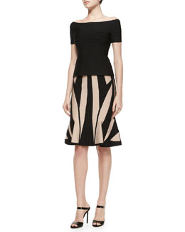Off-The-Shoulder Bandage Peplum Top & Geometric Pattern Flounce Hem Skirt