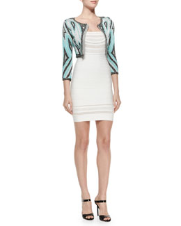 Geometric Pattern Bandage Crop Jacket & Sleeveless Lattice-Inset Bandage Dress