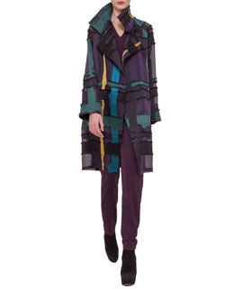 Glen Plaid/Fringed Satin Jacquard Coat, Draped-Back Jersey Top & Pleated Jersey Tapered Pants