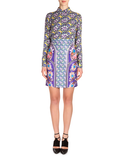 Abstract Houndstooth-Print Silk Shirt & Pencil Skirt