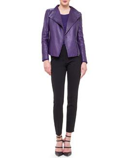 Asymmetric-Zip Leather Moto Jacket, Cashmere-Blend Long-Sleeve Top & Melissa Slim-Fit Techno Pants