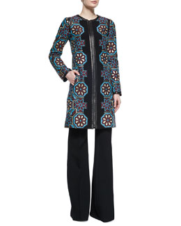 Floral Mosaic Jacquard Zip Coat & Wool High Waist Wide-Leg Pants