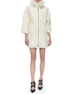 Textured Fur-Collar Zip Coat & Wool Crepe Braid-Trim Dress
