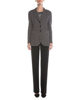 Waffle-Woven Toggle-Button Jacket, Scoop-Neck Marble-Print Top & Boot-Cut Double-Faced Pants