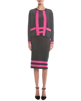 Contrast-Trimmed Ribbed Cardigan, Ribbed Contrast Striped Top & Ribbed Border Striped Pencil Skirt
