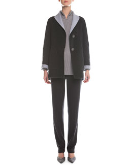 Two-Tone Double-Faced Swing Topper, Split-Neck Ribbed Sweater & Herringbone-Knit Slim-Fit Pants