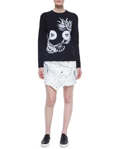 Crewneck Fruit Intarsia Top & Bandana-Twist Mini Skirt