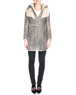Doubled-Collar Belted Mid-Length Shearling Coat & Distressed Skinny Moto Jeans