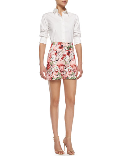 Basic Poplin Button Blouse & High-Waisted Floral-Print Shorts