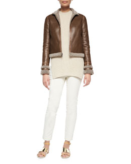 Stand-Collar Shearling Fur Zip Jacket, Cashmere-Blend Side-Slit Sweater & Stretch-Corduroy Cropped Leggings