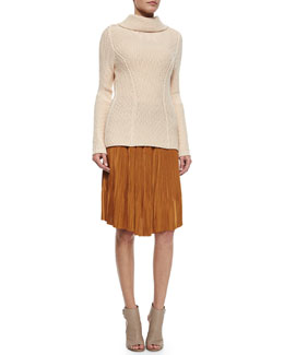 Waffle-Knit Turtleneck Sweater & Accordion Pleated Straight Skirt