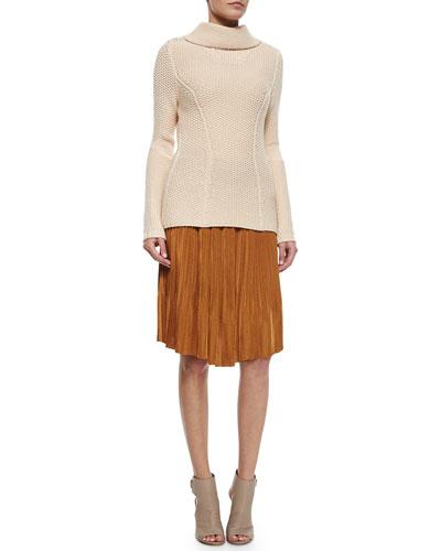 Waffle-Knit Turtleneck Sweater & Accordion Pleated Straight Skirt